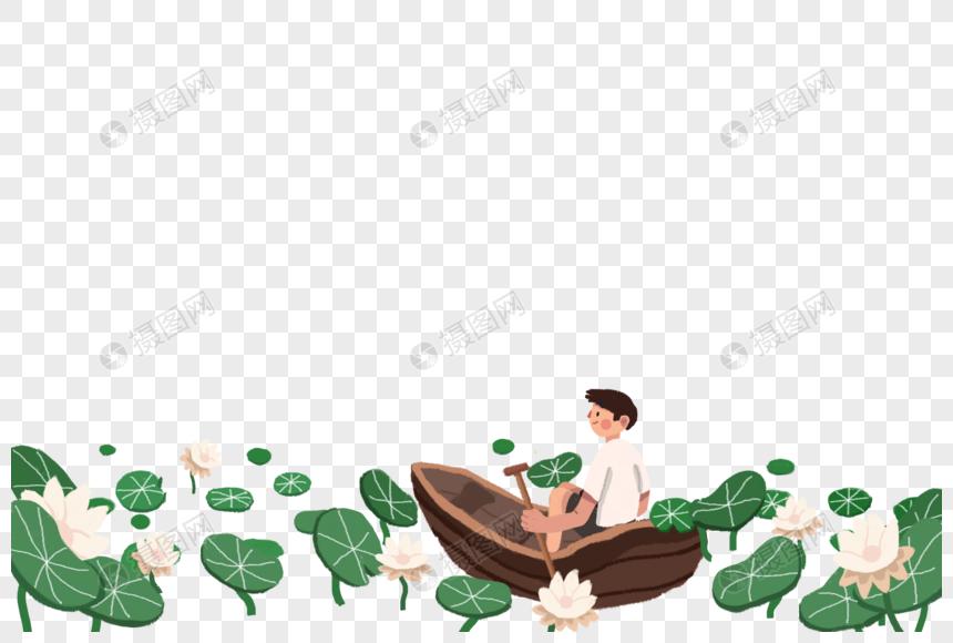 划船赏荷的男孩图片