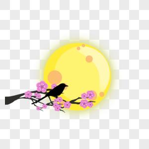 喜鹊望月图片