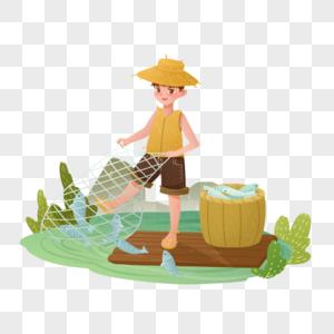 节气处暑开渔节男孩打鱼图片