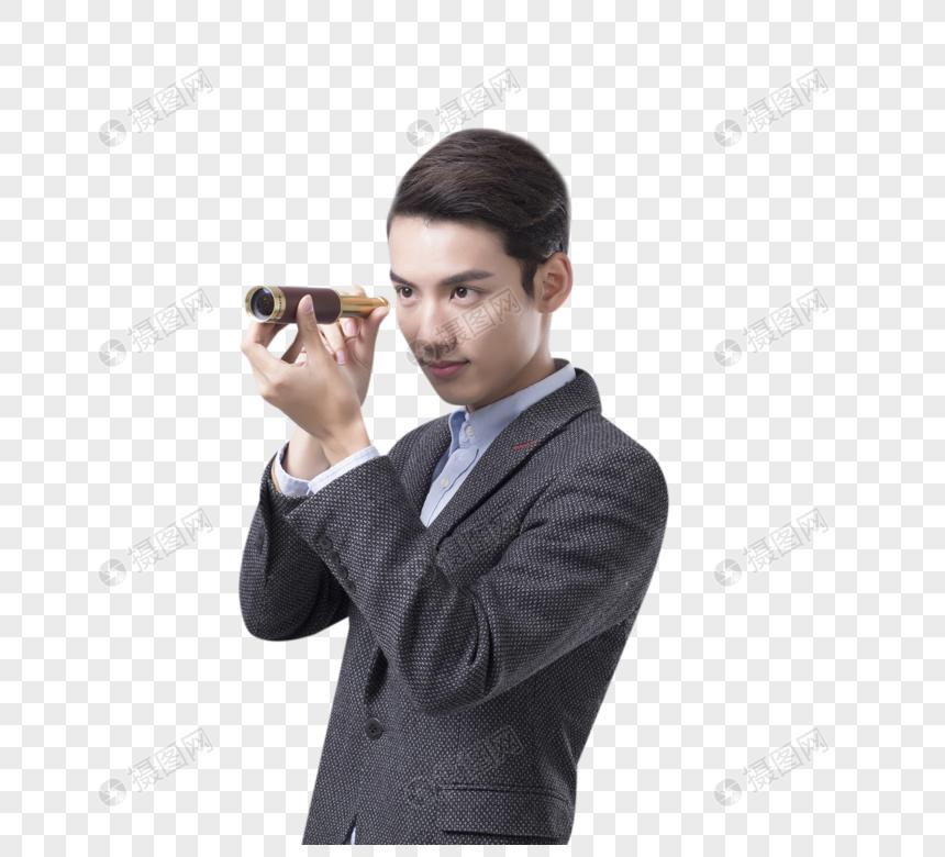拿着望远镜的商务男士图片