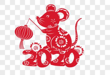 老鼠提灯笼字体剪影窗花图片
