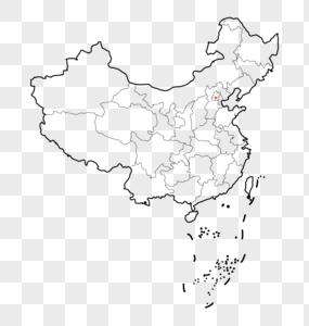 黑白线条中国地图图片