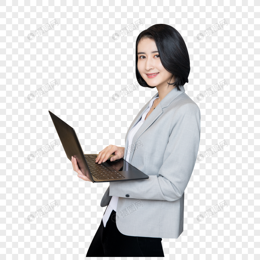 职场女性手拿笔记本电脑图片