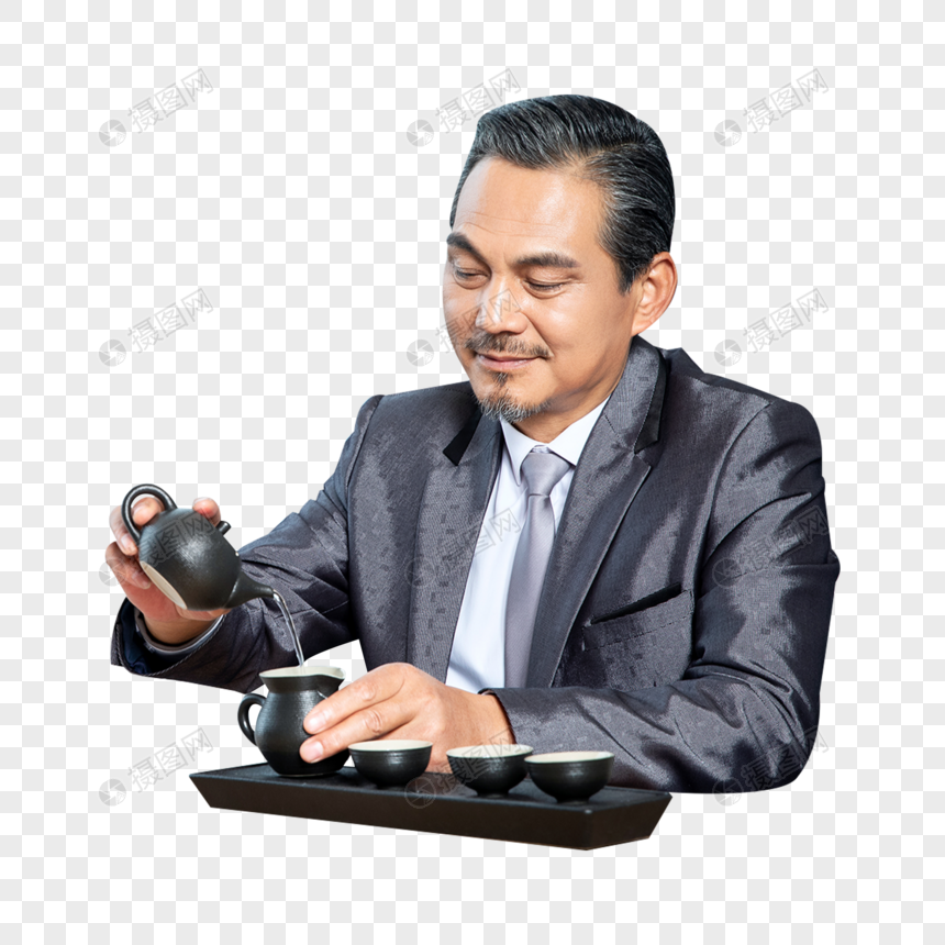 商务男士办公室喝茶图片