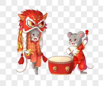 老鼠舞狮图片