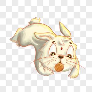 吃月饼的玉兔图片