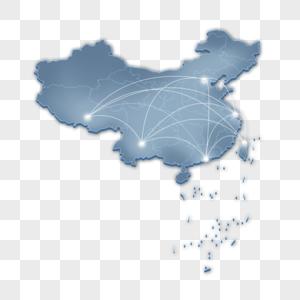 蓝色立体地图图片