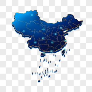 立体蓝色中国地图图片