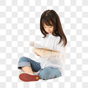小女孩坐在地上看书图片