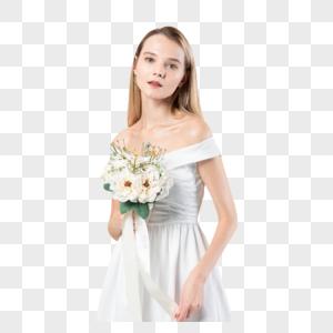 性感气质外国美女拿花图片