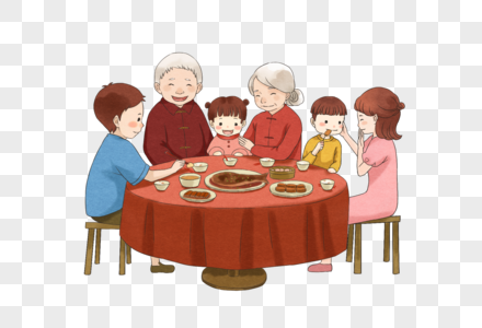 中秋聚餐的一家人图片