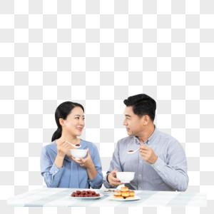 夫妻吃饭图片