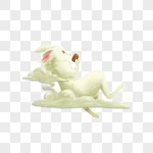躺着吃月饼的玉兔图片