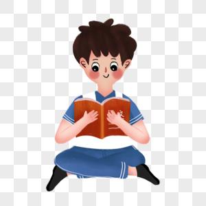 坐着看书的男孩图片
