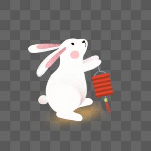 打灯笼的玉兔图片