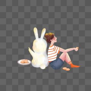 靠着玉兔吃月饼的女孩图片