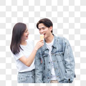 情侣游乐园吃冰淇凌图片
