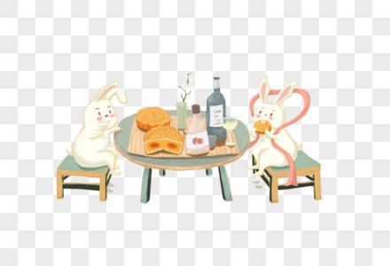 中秋吃月饼的玉兔图片