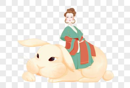 坐着玉兔的嫦娥图片