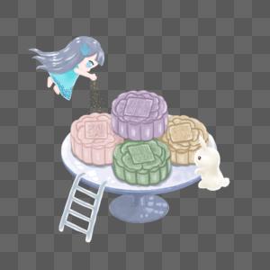 制作月饼的玉兔和嫦娥图片
