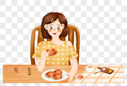 吃螃蟹的女孩图片