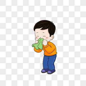 感冒流鼻涕的孩子元素图片