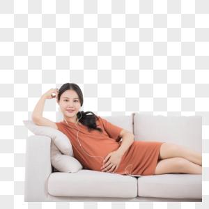 孕妇躺沙发上听音乐图片