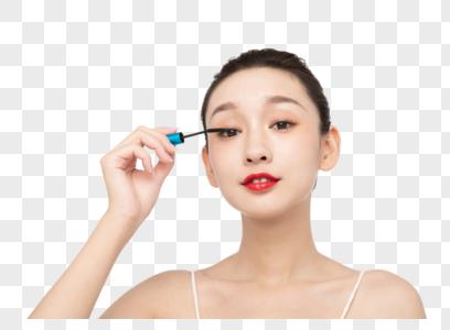 女性美妆刷睫毛膏图片