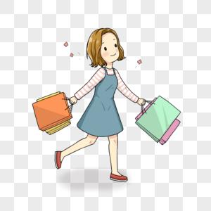 开心购物的女孩图片