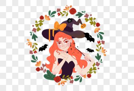 万圣节魔女插画图片