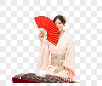 和服美女弹古琴图片