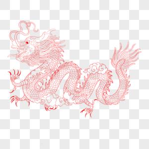 中国龙线描图片