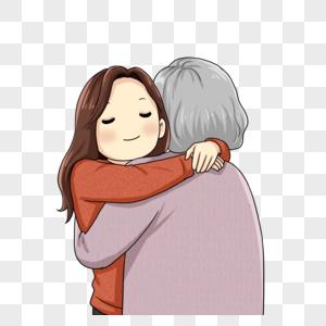 拥抱老人图片