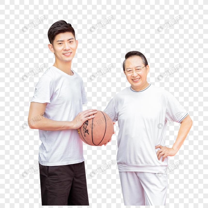 父子户外篮球场运动打篮球图片
