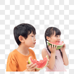 儿童暑假居家吃西瓜图片