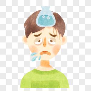 发烧的男孩图片