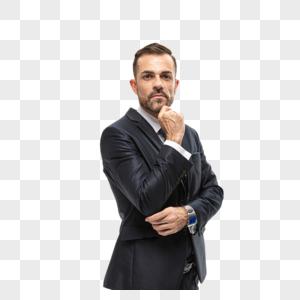 外国商务男性手扶下巴图片