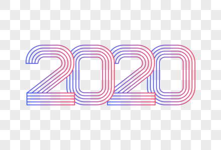 2020线条字图片