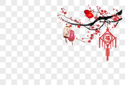花枝上的灯笼和中国结图片