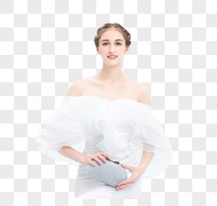 外国优雅女性拿着手包图片