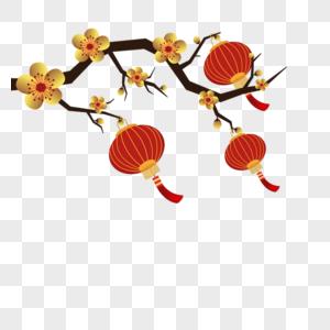 花枝上的灯笼图片