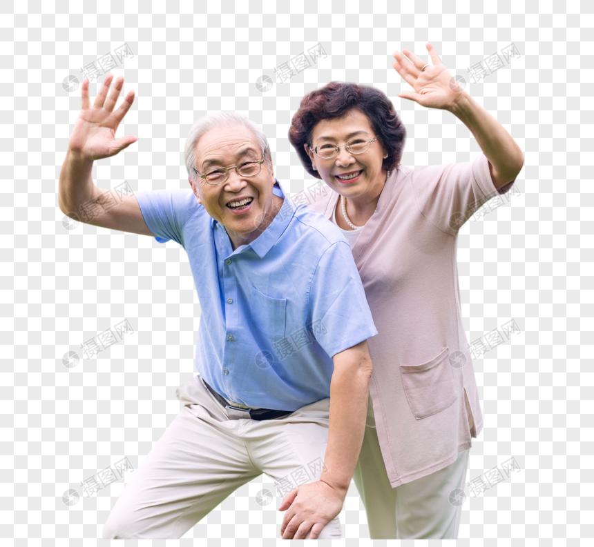 老年夫妇挥手图片