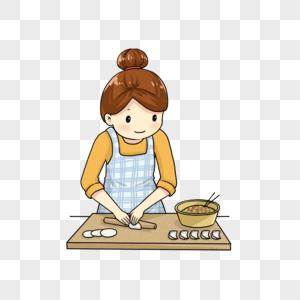 女孩包饺子图片
