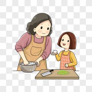 母女一起包饺子图片
