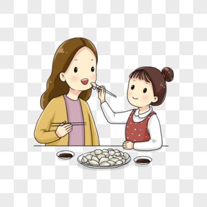小女孩喂妈妈吃饺子图片