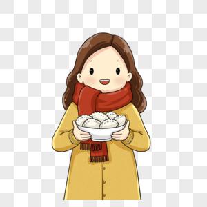 端着饺子的女孩图片
