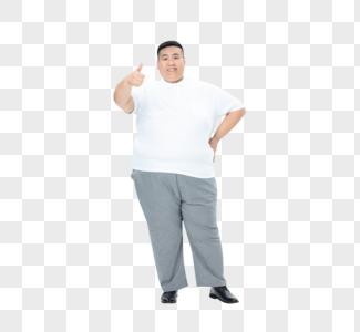 青年男性胖子点赞图片