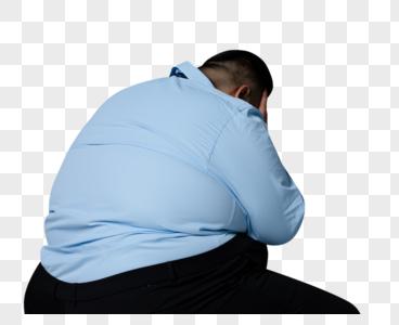 商务肥胖男性烦恼背影图片