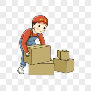 快递员搬箱子图片