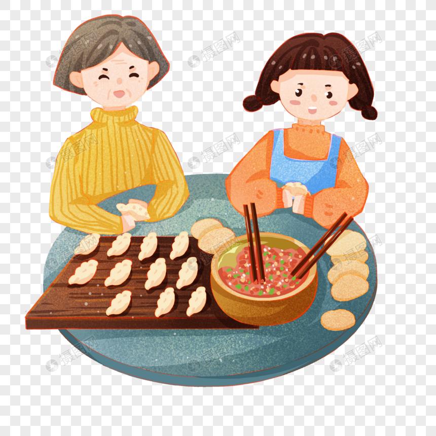 和妈妈一起包饺子的女儿图片